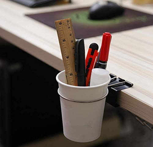 デスク カップ ホルダー カップホルダー クリップ、テーブル エッジ クランプ カップ ホルダー、水 ガラス、コーヒー マグ/飲料 取って付き オフィス パソコン デスクワーク