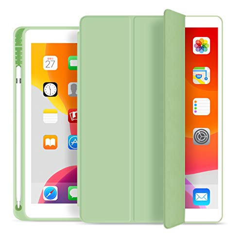 ZOYU Case for iPad mini 5 2019 7.9 inch,Slim Lightweight Smart Cover with Pencil Holder Shockproof Soft TPU Back Cover Auto Sleep/Wake for iPad mini 5th Generation A2133 A2124 A2126 A2125 (Green)