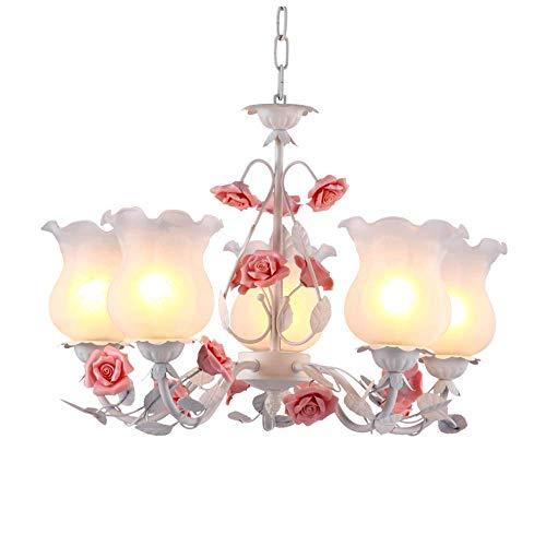 Lampadari in stile rustico, lampada a sospensione a soffitto floreale pastorale a 5 luci con paralume in vetro Lampade a sospensione Creative Rose in ceramica Design country Lampade a sospen