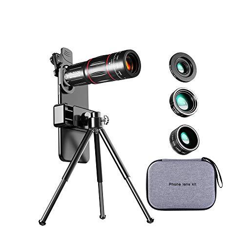Lente 4 em 1, lente para câmera celular, lente teleobjetiva de zoom 28x, lente macro grande angular 2 em 1, lente olho de peixe, adequada para uma variedade de smartphones