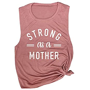 Spunky Pineapple Strong as a Mother Workout Gym Muscle Tee Top Shirt for Women Mauve