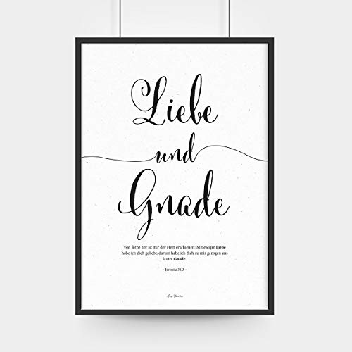 Aus Gnade Christliche Poster · Bibelvers: Liebe Wandgestaltung · ohne Rahmen · A3 · christliche Geschenke · Deutsch