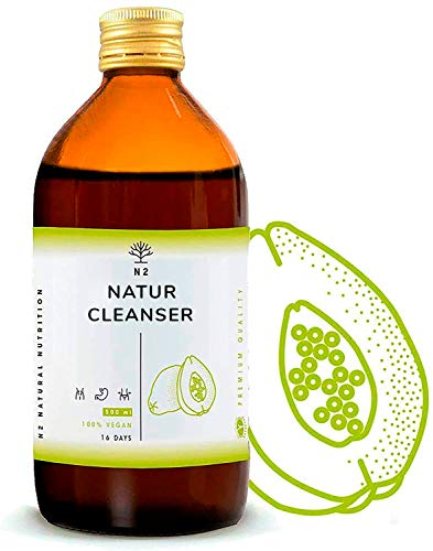 Natur Cleanser Complex 500 ml 12 Highly Efficient Natural Plants - Contribute to Normal Stomach, Liver & Intestinal Function. Green Tea Guarana Dandelion Papaya Orthosiphon Vegan N2 Natural Nutrition
