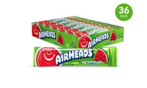 Airheads Candy, Individually Wrapped Full Size Bars for Halloween, Watermelon, Bulk Taffy, Non Melting, Party, 0.55 Ounce (Pack of 36)