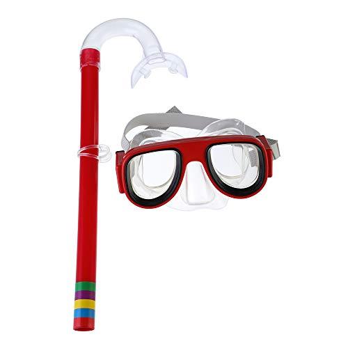 Hoomall Schnorchelset Taucherset Schwimmset Schnorchelbrille für Kinder Jugendliche von 3-8 Jahren Rot Grün Gelb Orange 1 Set