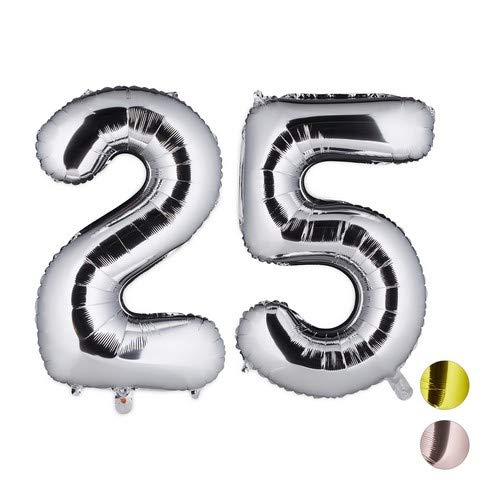 Relaxdays, Plateado, 85 x 50 x 17 cm Globos de Cumpleaños Número 25, Aluminio
