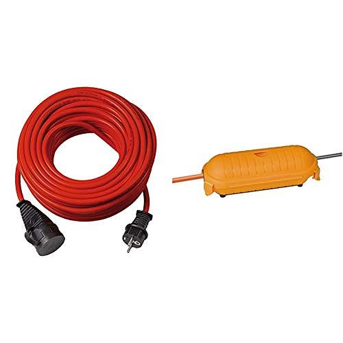 Brennenstuhl BREMAXX Verlängerungskabel (25m Kabel in rot, Stromkabel einsetzbar bis -35 °C) & Safe-Box Big IP44 / Schutzbox für Verlängerungskabel (Schutzkapsel für Kabel im Außenbereich) gelb