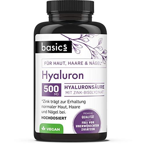basics Hyaluronsäure Kapseln - hochdosiert 500mg plus Zink - Vegan (30 Kapseln)