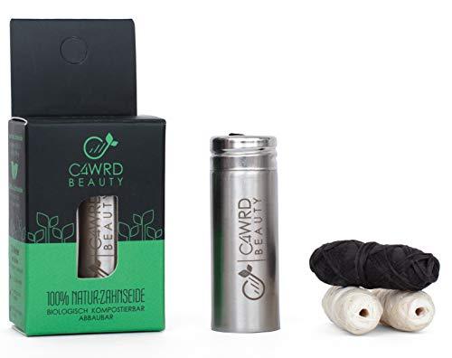 C4wrd ™ Filo interdentale in bambù naturale compostabile in dispenser in acciaio inox per denti sani, la salute inizia in bocca