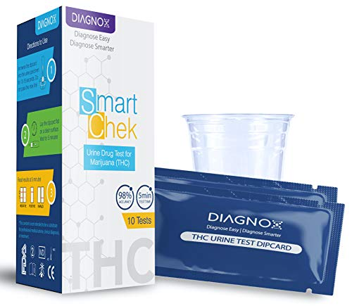 THC Single Panel Test Bundle by Diagnox | Medical Grade, Highly Sensitive & Accurate, Rapid Results in 5 Mins | Detect Any Form of THC up to 40+ Days | Test Cups Included (10 Tests)