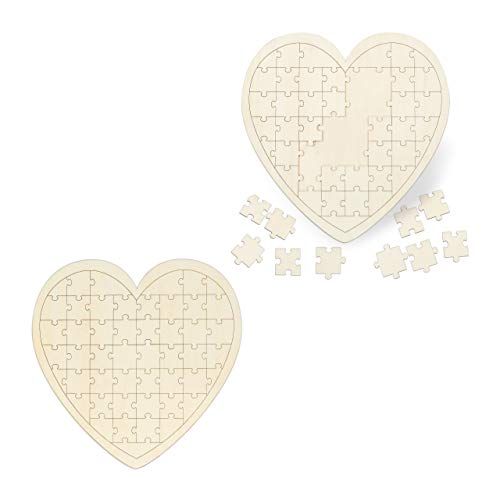Relaxdays 2 x Herzpuzzle, XXL Gästebuch für Hochzeit, Taufe & Geburtstag, 49 Teile zum...