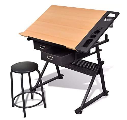 Zeichenschreibtisch, höhenverstellbar, mit 2 Schubladen und Hocker für Künstler, Architekten und Techniken