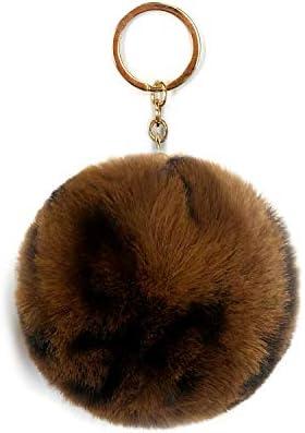 SIMPLICHIC Faux Animal Print Fur Ball Pom Pom Keychains Round Shape Charm Dark Brown product image