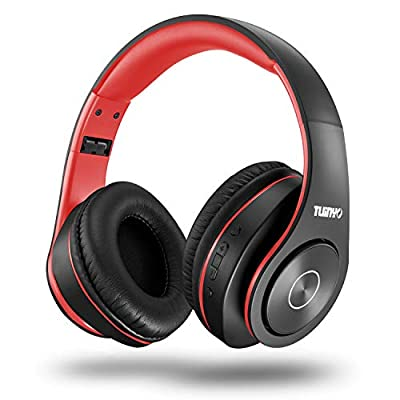 Bluetooth Headphones Wireless,Tuinyo Over Ear Stereo Wireless Headset 35H Playtime with deep bass, Soft Memory-Protein Earmuffs, Built-in Mic Wired Mode PC/Cell Phones/TV-black/red by Tuinyo