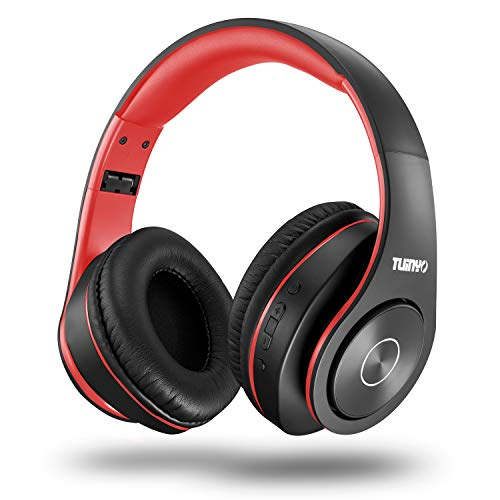 Bluetooth Headphones,Tuinyo Over Ear Stereo Wireless Headset 35H Playtime with Deep Bass,Soft Memory-Protein Earmuffs,Built-in Mic Wired Mode PC/Cell Phones