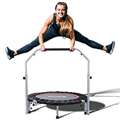 Folded Size Less to 1/4 - Unique design allows you to fold the trampoline twice while wearing the safety pad, help you to store conveniently under the bed, in the car trunk or the closet, etc. Closed Designed Steel Spring - Compared with other trampo...