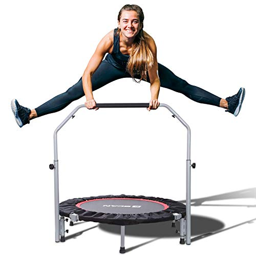 "BCAN 40"" Foldable Mini Trampoline, Fitness Rebounder with Adjustable Foam Handle, Exercise Trampoline for Kids Adults Indoor/Garden Workout Max Load 330lbs"