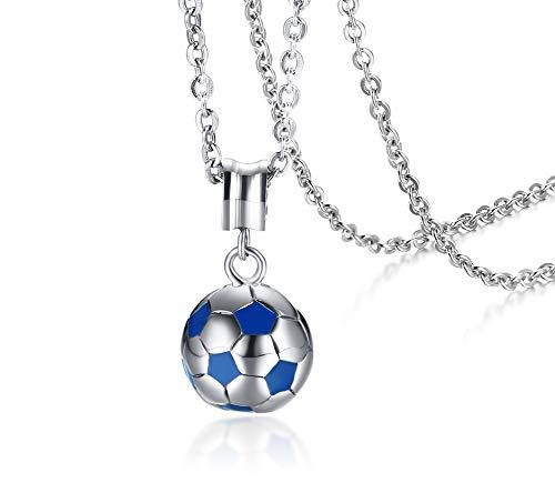 Joielavie - Collana in acciaio inossidabile con ciondolo a forma di pallone da calcio, bicolore argentata e blu, sportiva, idea regalo per uomo e donna