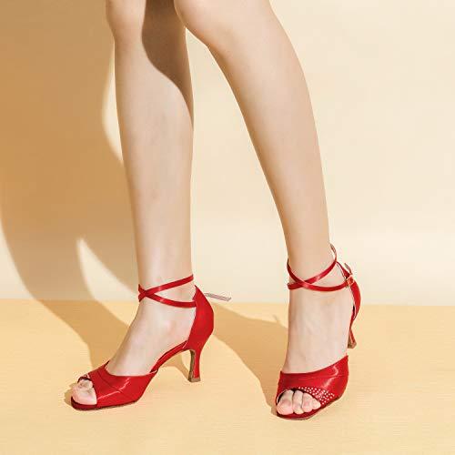 Jia Jia 20522 Damen Sandalen Ausgestelltes Heel Super-Satin mit Strass Latein Tanzschuhe Rot , 37 - 4