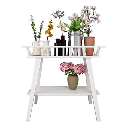 Unbekannt DE Blumenrahmen schmiedeeiserner Doppeldecker Innenwohnzimmer Balkon bodenstehender Blumentopfständer Pflanzenständer geeignet für mehr Fleisch (Color : White)
