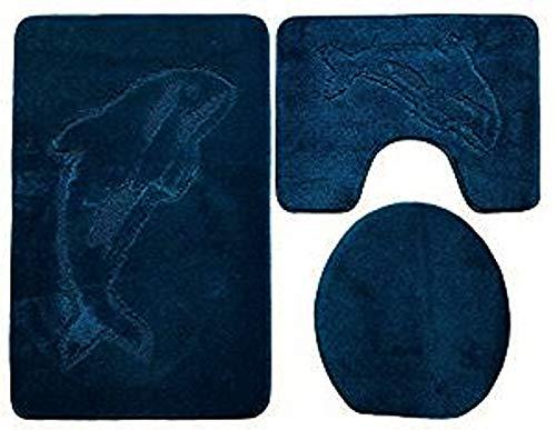 Ilkadim Delphin Badgarnitur 3 TLG. Set 55x85 cm einfarbig, WC Vorleger mit Ausschnitt für Stand-WC (Petrol dunkel)