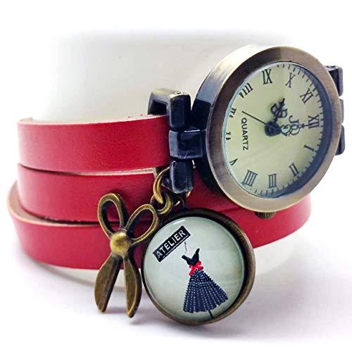 Handarbeit mehrgliederige Lederuhr cabochon- rot Uhr - Kleid - Schere - Weihnachtsgeschenk für Frauen - Valentinstag (ref.26) FBA