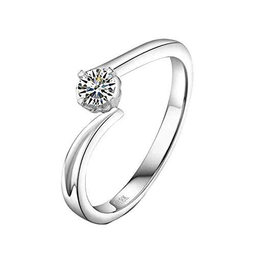 Beydodo Anillos de Boda Para Mujer,Anillos de Compromiso Mujer Oro Blanco 18 Plata Redondo con 4 Garras Diamante 0.2ct Talla 12(Circuferencia 52MM)
