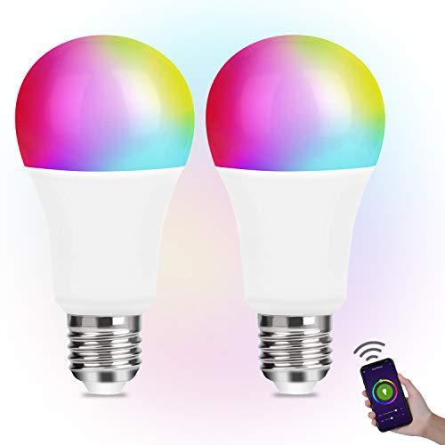 Smart Lampe WLAN LED Alexa Glühbirnen E27 Birne RGB Wifi Bulb mit Mehreren Farben Glühbirne E27 (2 Stück) kompatibel mit Phone und Google Assistant - E27 2pack