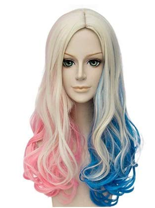 FALAMKA Blau und Pink Perücke Lange Lockige Damen Perücke Cosplay Kostüm Halloween