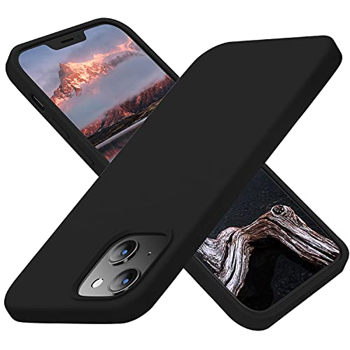 Cordking Designed for iPhone 13 Cases, Silicone Ultra Slim Shockproof Protective Phone Case with [Soft Anti-Scratch Microfiber Lining], 6.1 inch, Black