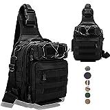 LUXHMOX Fishing Gear-Tackle-Bag Waterproof Storage Lightweight Sling Backpack-Black