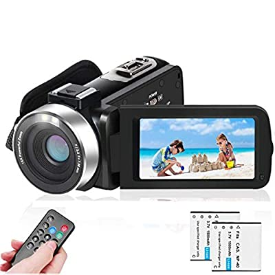 LAIDUOAO 2.7K Video Camera Camcorder Vlogging Camera WiFi IR Night Vision 1080P Camcorder with 16X Zoom, 2 Rechargeable Batteries, 30FPS 24MP 3.0 Inch Touch Screen Easy Operation with Remote by Laiduoao