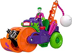 Kids can create villainous adventures with The Joker and his Steamroller vehicle Watch out Press the Power Pad to swing the wrecking ball back and forth. Trap figures in the front wheel as the vehicle is rolled along to wreak havoc on the streets o...