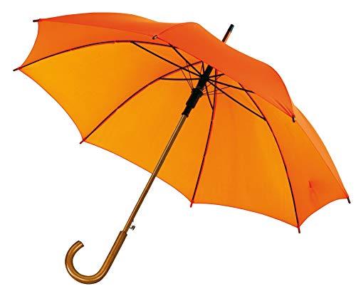 Automatik Regenschirm Holzschirm Stockschirm Portierschirm mit gebogenem Rundhaken Holzgriff in 103 cm Durchmesser von notrash2003 (Orange)