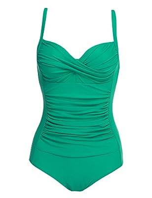 Ekouaer Pinup Girl Rockabilly Retro Swimwear One Piece Green,Medium