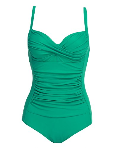 Ekouaer Retro Pinup Bathing Suit Swimwear One Piece Sexy Sailor Swimsuit Tummy Control Swimsuit(Green,Large)