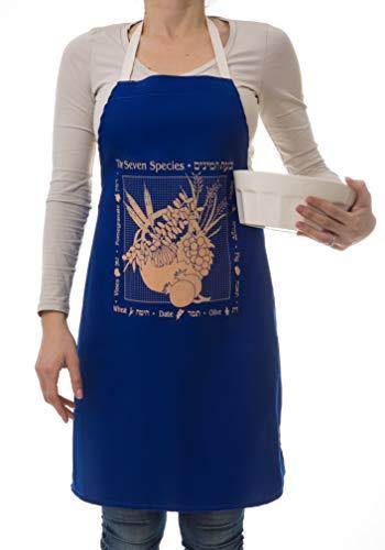 Barbara Shaw Presentes Kosher Avental Sete Espécies Avental Israelense Presentes Feitos em Avental bíblico de Jerusalém, Presente de Anfitriã, Ótimo para Mães e Avós, Design Único, Fácil Lavagem à Máquina