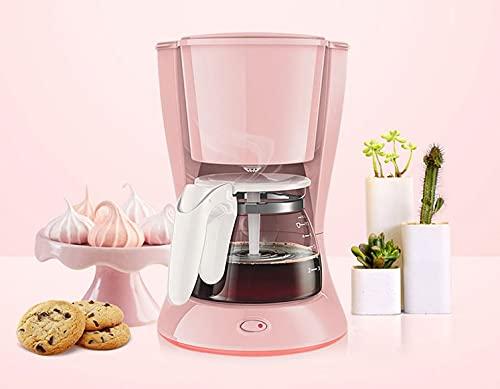 Ekspres do kawy, automatyczna mała ekspres do kawy, Anti-Drip Łatwa do czyszczenia i utrzymania,DOPROWADZIŁO Przełącznik zasilania przez wiele okazji (Color : Pink)