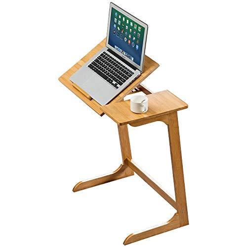 Laptop Table, Bamboo Corner C Shape Adjustable End Bed TV Tray Coffee Snack Sofa Side Desk for Eating Dinner-Living Room Bedroom,natural color