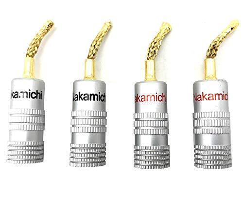 Vimmor 4 pcs Nakamichi Trenzado de Alambre Altavoz Banana Plugs Audio Jack Conector para Altavoz Cable, Resistente a la corrosión, 2 Piezas Negro y 2 Piezas Rojo