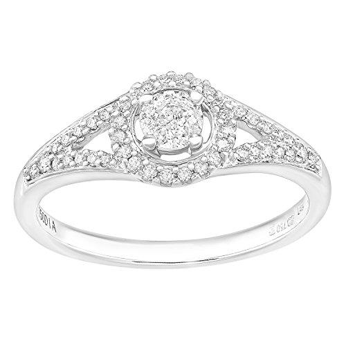Naava 18ct witgoud ronde halo 0.40ct diamant verlovingsring