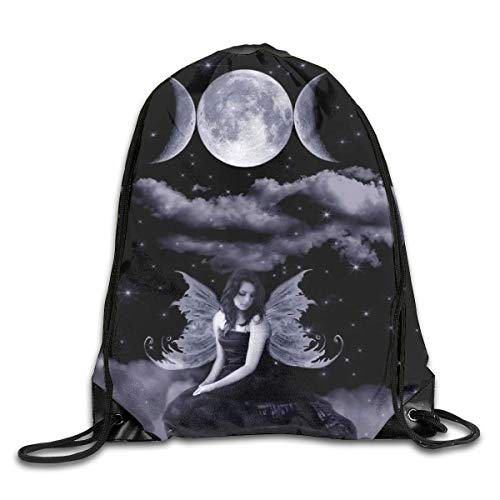 Drempad Tunnelzug Rucksäcke, Fairy Wicca Angel Wiccan Moon Patterned Themed Printed Drawstring Bundle Book School Shopping Travel Back Bags Draw String Gym Backpack Bulk Girl Boy Women Men