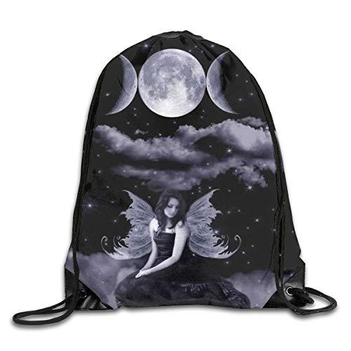 Drempad Tunnelzug Rucksäcke, Fairy Wicca Angel Wiccan Moon Patterned Themed Printed Drawstring Bundle Book School Shopping Travel Back Bags Draw String Gym Backpack Bulk Girl Boy Women Men