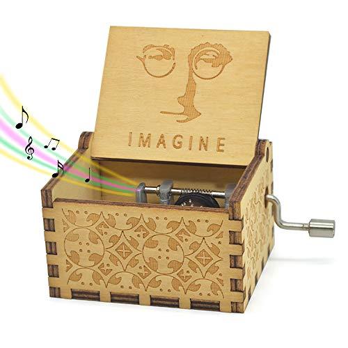 Imagine Music Box- 18 Note Mechanism Antique Carved Wooden Music Box Crafts Desk Decoration (Imagine)