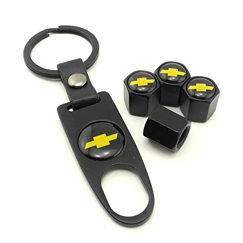 iDoood Set of 4 Car Tire Valve Stem Air Caps Cover + Keychain for Chevy Chevrolet