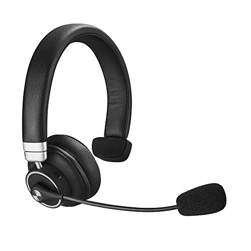 Bluetooth Headset, Angteela Truker Bluetooth Headset with Microphone, Wireless Headset 5.0 with Mute Button, 24 Hours Working Time, for Cell Phone and Laptop on Business Office. (BH-M91)