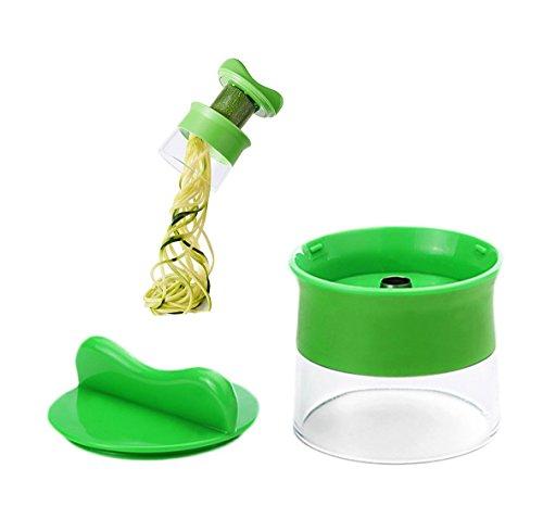 Wommty Handheld Coupe-légumes Trancheuse Spirale Spiralizer Complet Bundle Découpe-légumes Cutter pour Concombres, Pommes de Terre, Courgettes, Oignons, Sweet Pommes de Terre et Radis