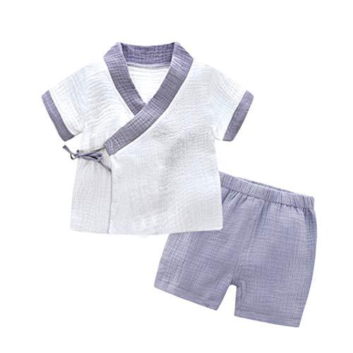 Pauboli Baby Kimono Bademantel Neugeborene Wickelshirt Bio-Baumwolle Schlafanzug Set Gr. 12-24 Monate, grau