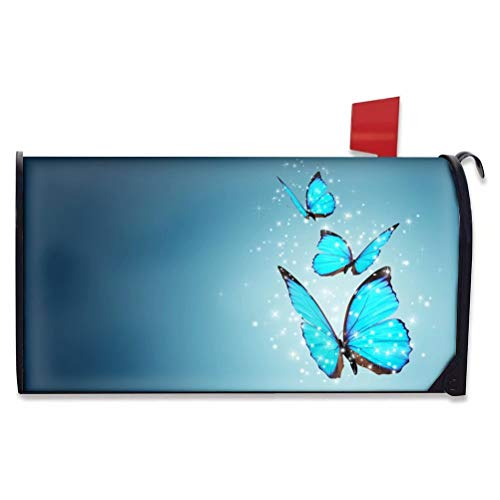 chaqlin Blue Butterfly Pattern Mailbox Covers Magnetic All Weather Post...