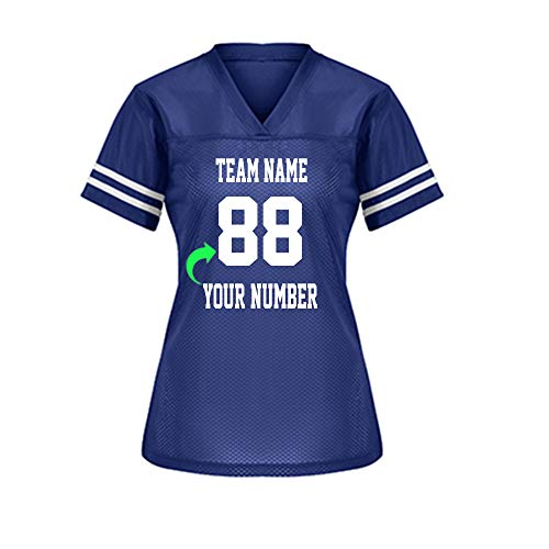 Customize Your Own Football Jersey with Your Name and Team Number Personalized & Customized Jersey (True Royal-Ladies)